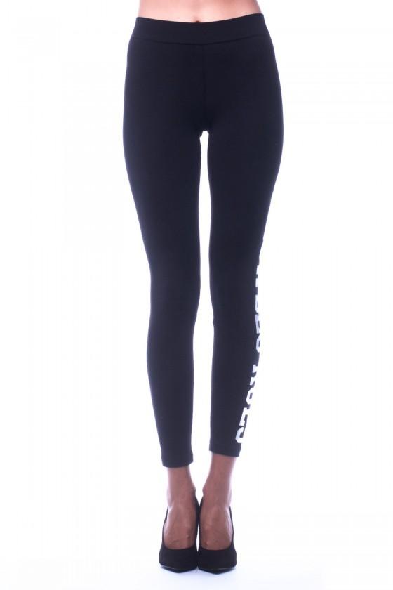 Жіночі легінси з голографічним принтом на лівій нозі чорні