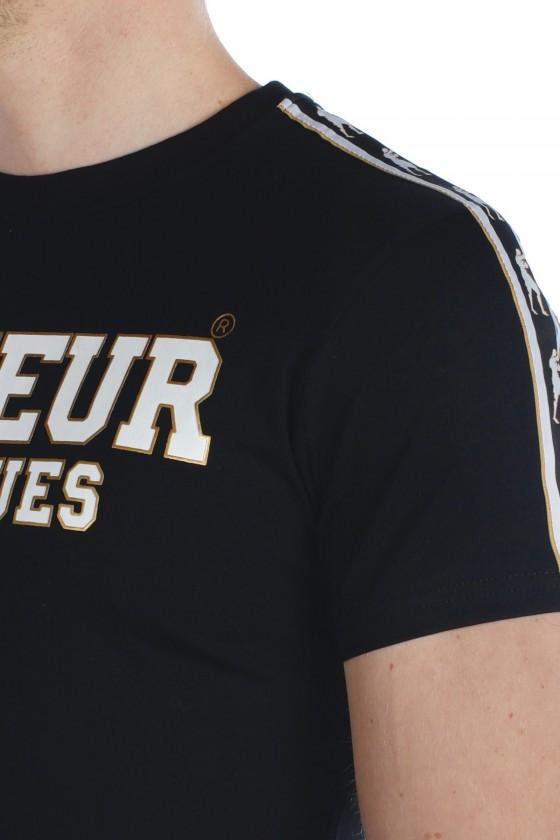Футболка с полосками и логотипом черная