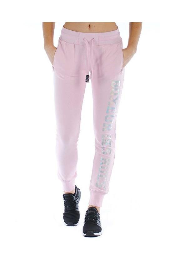 Женские спортивные штаны с голографическим принтом розовые