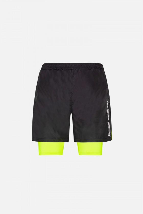 Мужские шорты с контрастными вставками черные