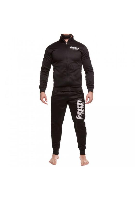 Спортивный костюм на молнии с контрастными полосками черный