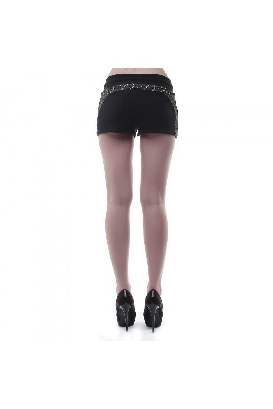 Женские шорты со встаквами черные