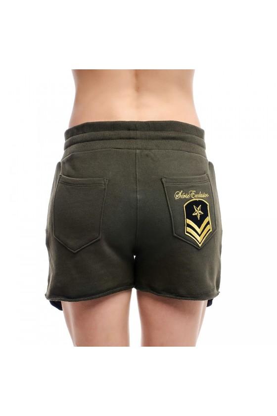 Жіночі шорти з мілітарі деталями army green