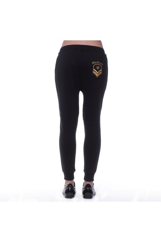 Женские штаны с логотипом спереди , карманом кенгуру и вставкой на заднем кармане черные