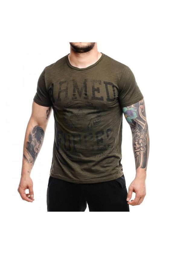 Футболка з графічним принтом на грудях army green