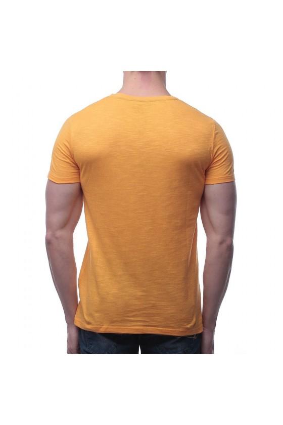 Футболка з графічним принтом на грудях жовта