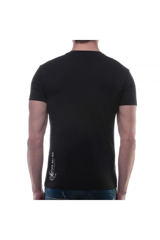 Футболка с v-образным вырезом и большим логотипом на груди черная
