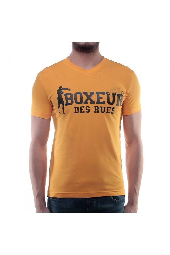 Футболка з v-подібним вирізом і великим логотипом на грудях жовта