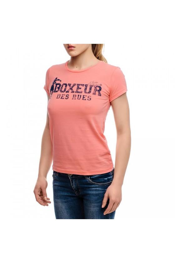 Женская футболка с круглым вырезом и логотипом на груди  ярко-красная