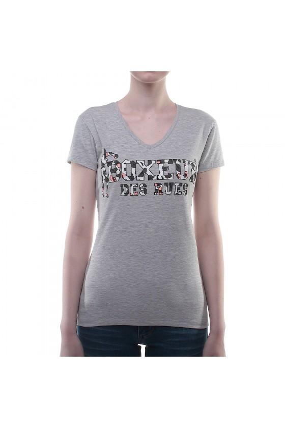 Женская футболка с v-образным вырезом и принтом на груди серая
