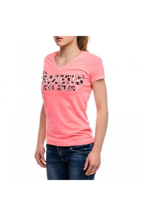 Женская футболка с v-образным вырезом и принтом на груди ярко-красная
