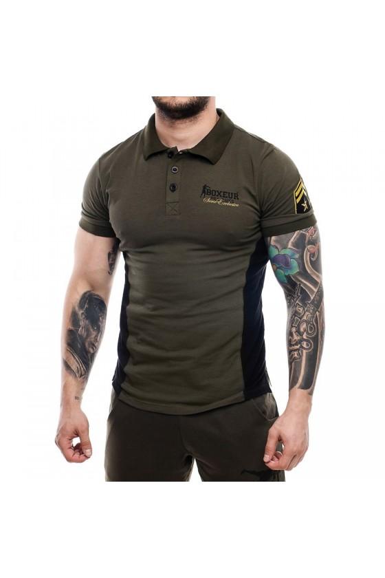 Футболка-поло со вставками по бокам и логотипом на груди army green
