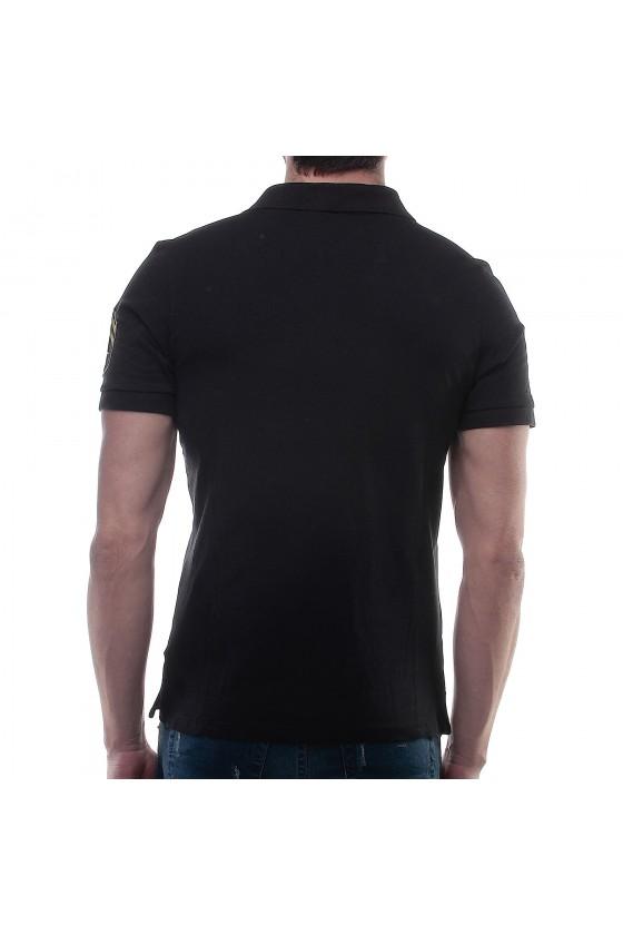 Футболка-поло со вставками по бокам и логотипом на груди черная