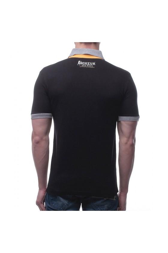 Футболка-поло с цветной  вставкой и логотипом на груди черная