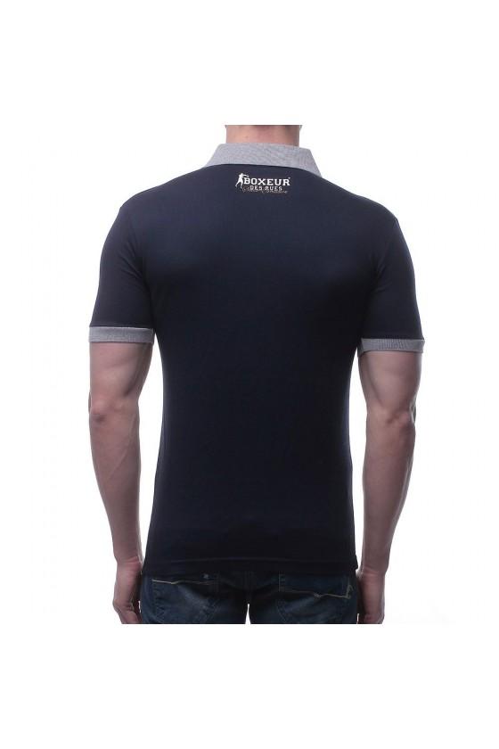 Футболка-поло с цветной  вставкой и логотипом на груди темно-синяя