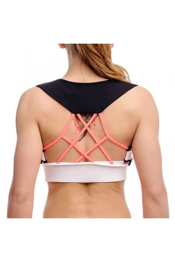 Женский спортивный топ с геометрическими вставками и логотипом на груди черный