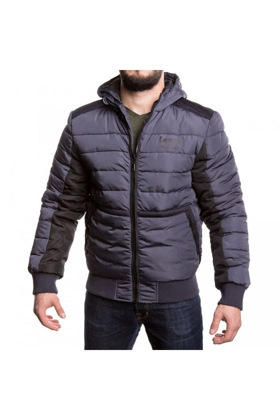 Куртка на замке с логотипом на груди антрацит