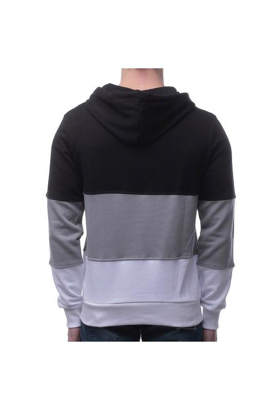 Худи в цветные полоски и логотипом на груди черная