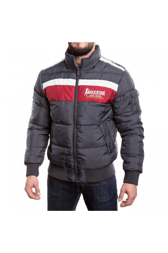 Куртка на замку з контрастною смужкою на грудях антрацит