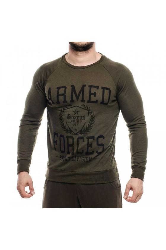 Реглан с круглым воротником и большим логотипом на груди army green