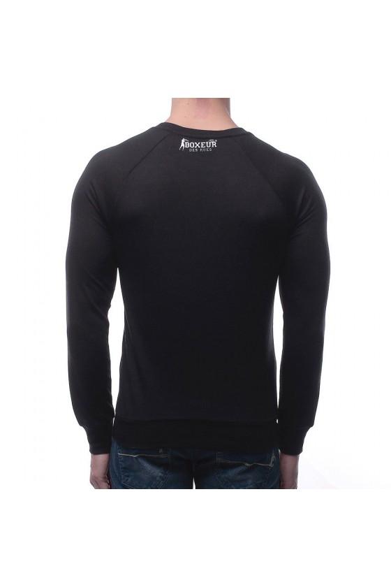 Реглан с круглым воротником и большим логотипом на груди черный