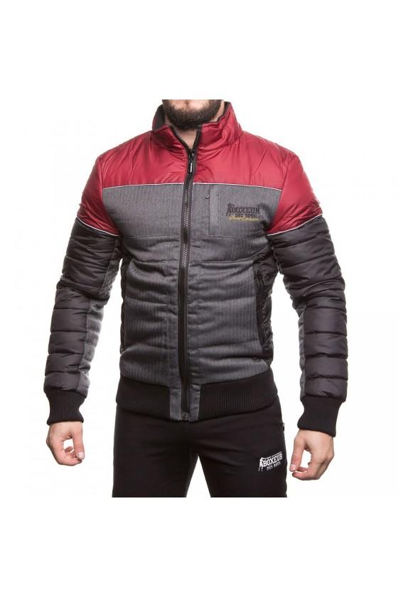Куртка на замке с цветной полоской на груди бургунди