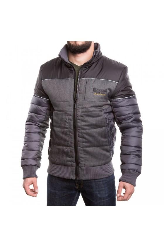 Куртка на замке с цветной полоской на груди черная