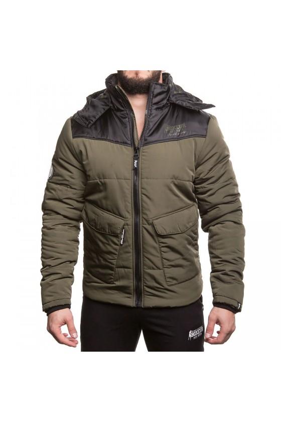 Куртка с капюшоном на замке с подкладкой в звезды army green