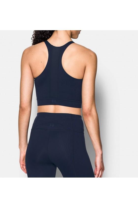 Жіночий спортивний топ з принтом на грудях темно-синій