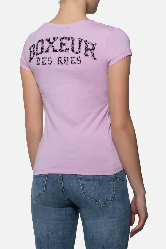 Женская футболка с принтом  розовая