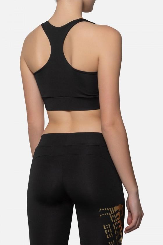 Женский тренировочный топ с большим принтом shiny черный