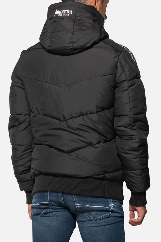 Куртка с логотипом и полосками черная