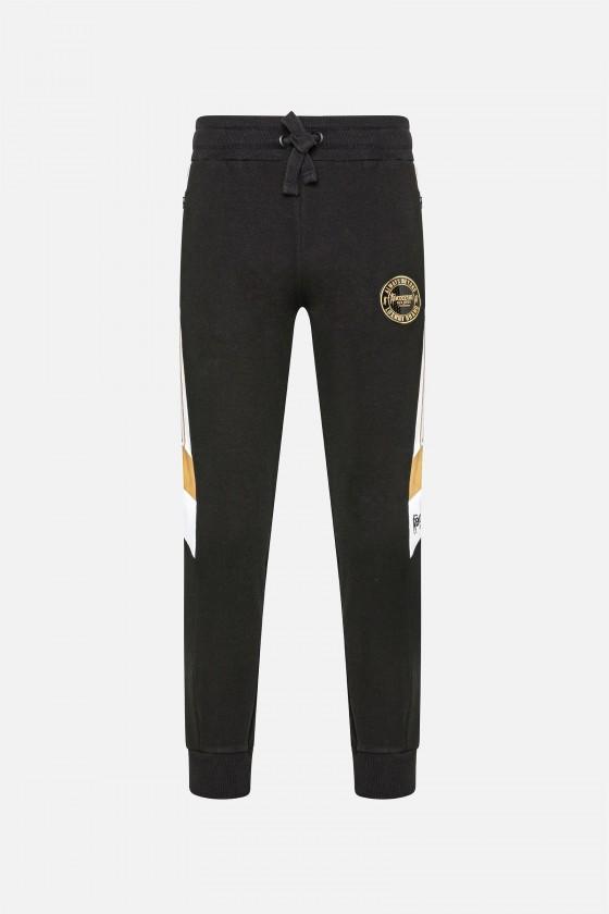 Спортивные штаны с полосками по бокам черные
