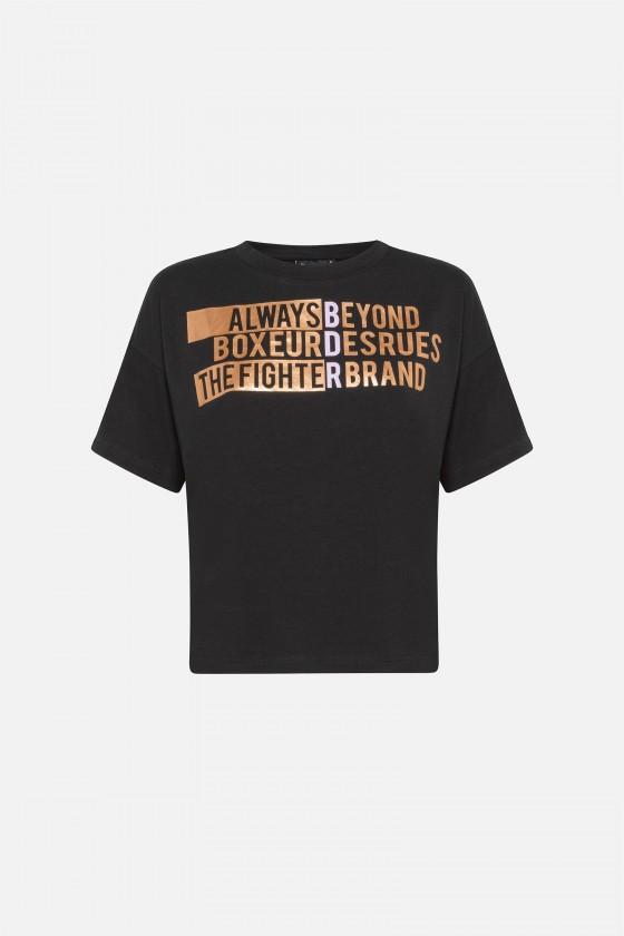 Жіноча футболка over fit з золотим написом чорна