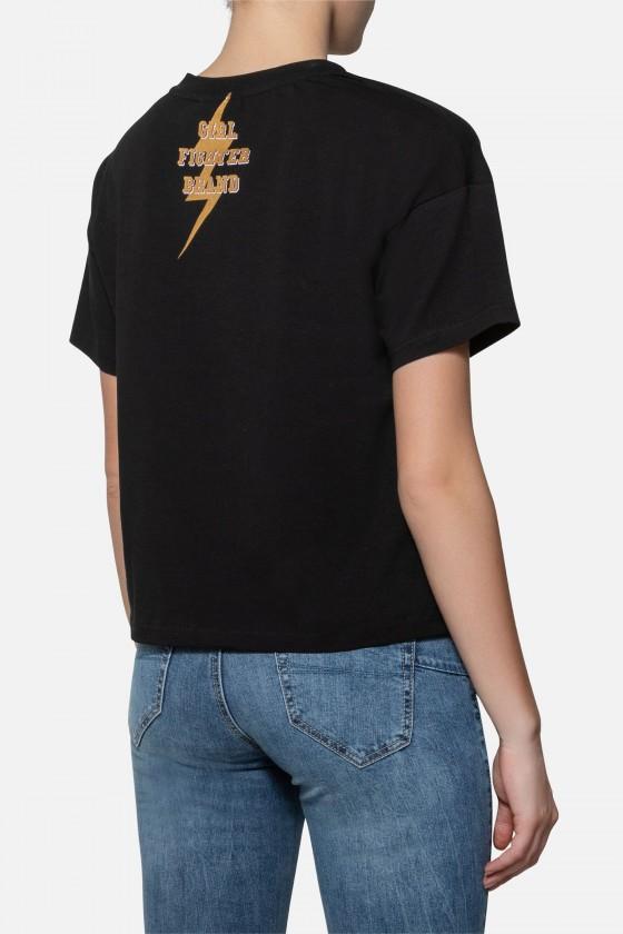 Женская футболка over fit с золотой надписью черная