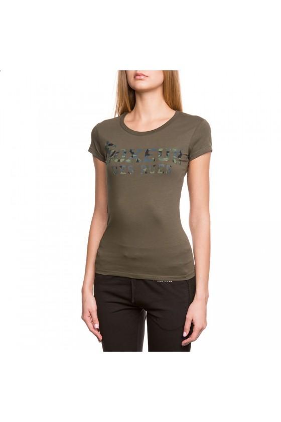 Женская футболка с камуфляжным логотипом на груди army green