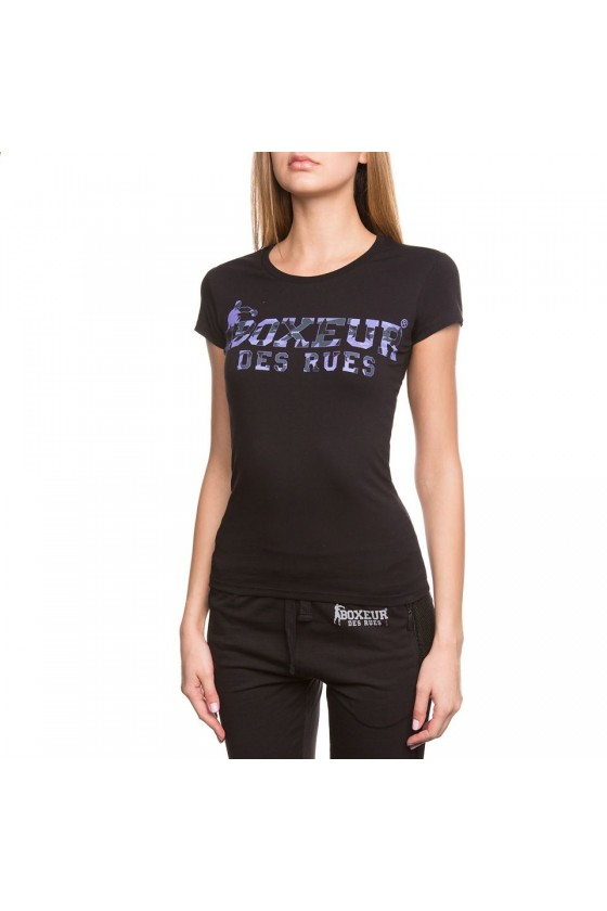 Жіноча футболка з камуфляжним логотипом на грудях чорна