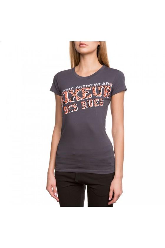Жіноча футболка slim fit з великим логотипом спереду антрацит