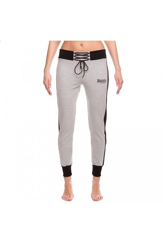 Женские спортивные штаны на шнуровке серые