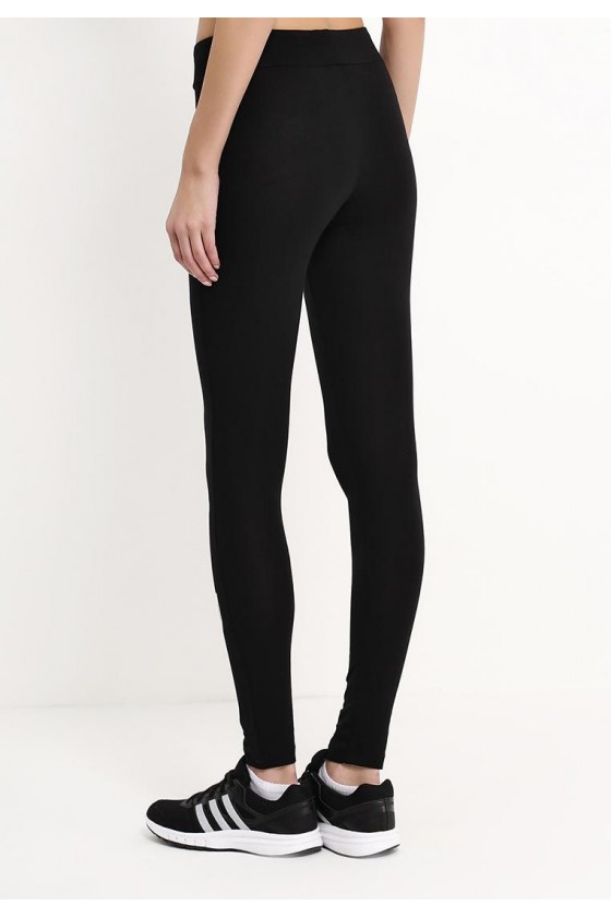 Женские леггинсы c логотипом на левой ноге черные