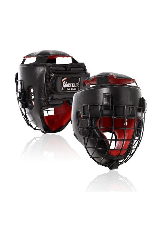Боксерский шлем с сеткой черный