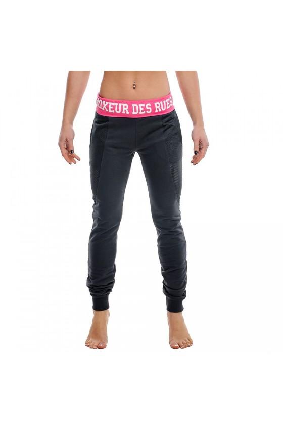 Женские спортивные штаны с ярким поясом антрацит