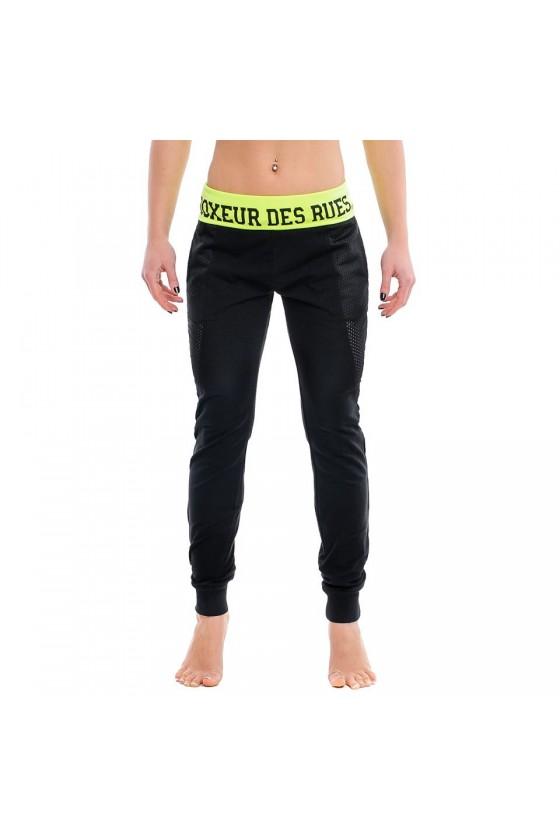 Жіночі спортивні штани з яскравим поясом чорні