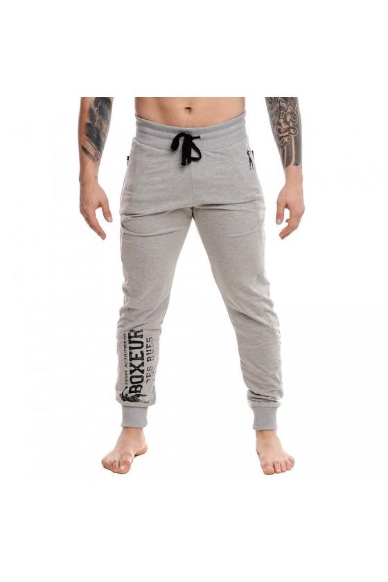 Мужские спортивные штаны с логотипом спереди на ноге серые