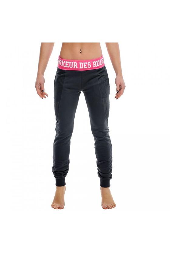 Женские тренировочные штаны с ярким поясом антрацит