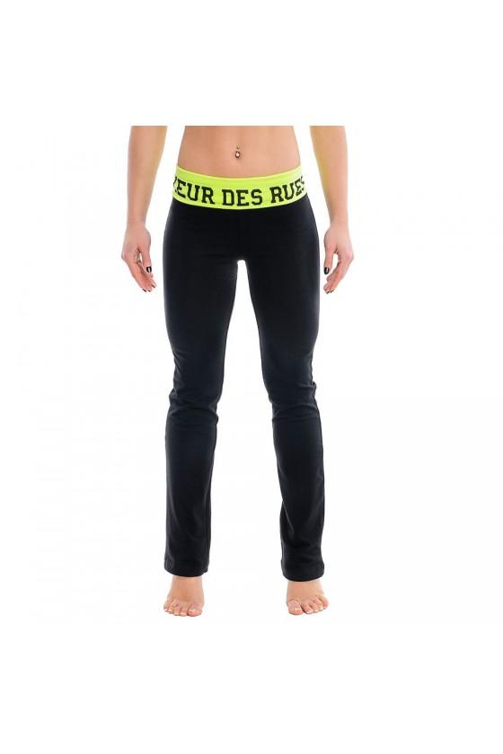 Жіночі тренувальні штани з яскравим поясом чорні