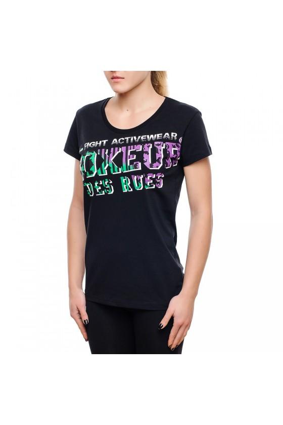 Жіноча футболка з принтом на грудях чорна