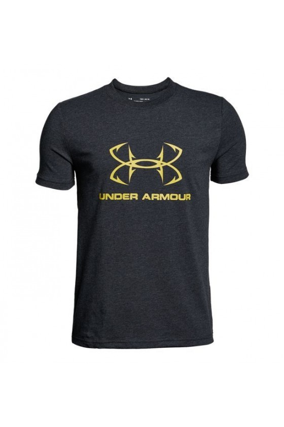 Дитяча футболка з жовтим логотипом чорна
