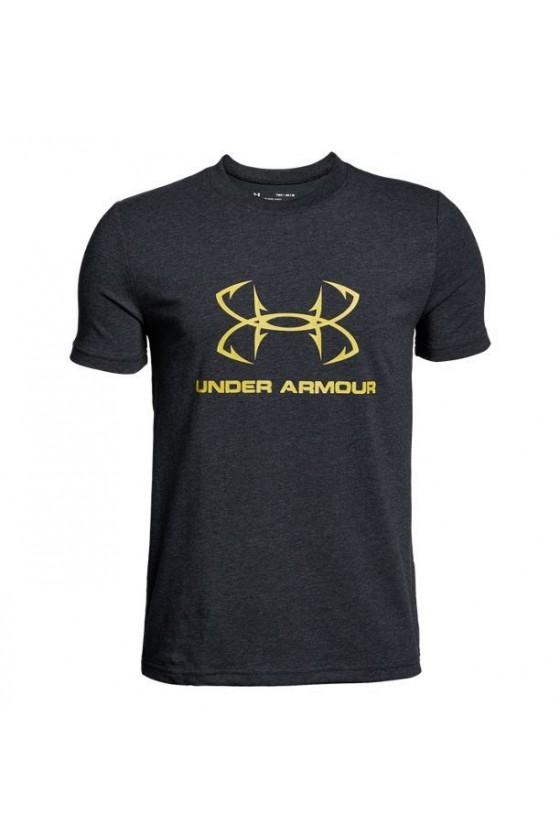 Детская футболка с желтым логотипом черная