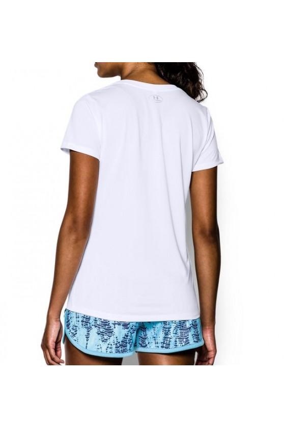 Женская футболка с v-образным воротником белая